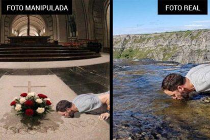 Fanáticos y xenófobos separatistas manipulan una foto de Abascal para mostrarle besando la tumba de Franco