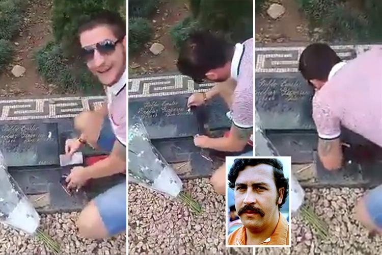 Se hace el gracioso aspirando cocaína sobre la tumba de Pablo Escobar y ahora vive un infierno
