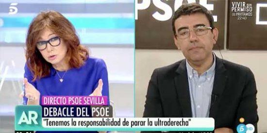 """Ana Rosa se ceba con un esbirro de Susana Díaz por reclamar """"constitucionalismo"""" al PP y a C´s cuando el PSOE se ha aliado con separatistas de toda condición"""