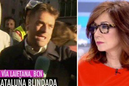 Al reportero de Telecinco le intentan amedrentar los niñatos catabatasunos y Ana Rosa les mete un revés grandioso