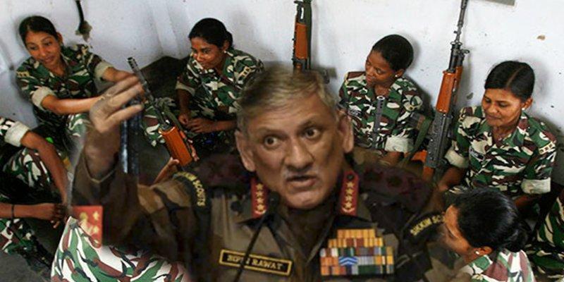 El jefe del Estado mayor del Ejército de la India afirma que las mujeres no están preparadas para el combate