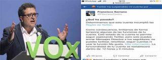 Twitter censura al Nº 1 de VOX en Andalucía: cierra la cuenta del juez Serrano a instancias de Podemos