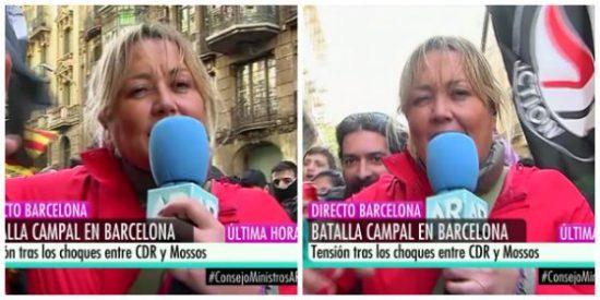 La bochornosa escena de la 'indepe' Mayka Navarro mandando un mensaje a su mamá en plena agresión de los CDR