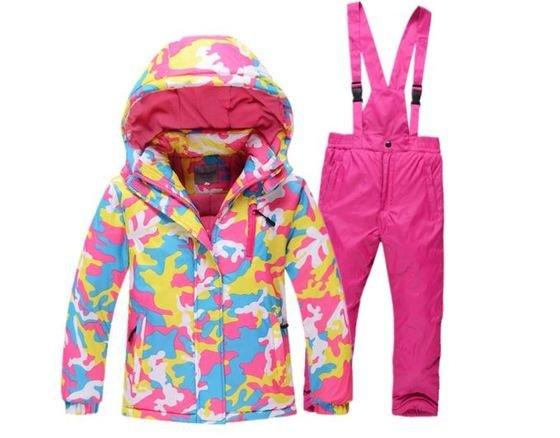LPATTERN Chaqueta de Esqu para Nios Nias Conjunto 2 Piezas Abrigo con Capucha + Pantalones con Tirante Traje de Nieve, Rosa, 110/3-4 aos