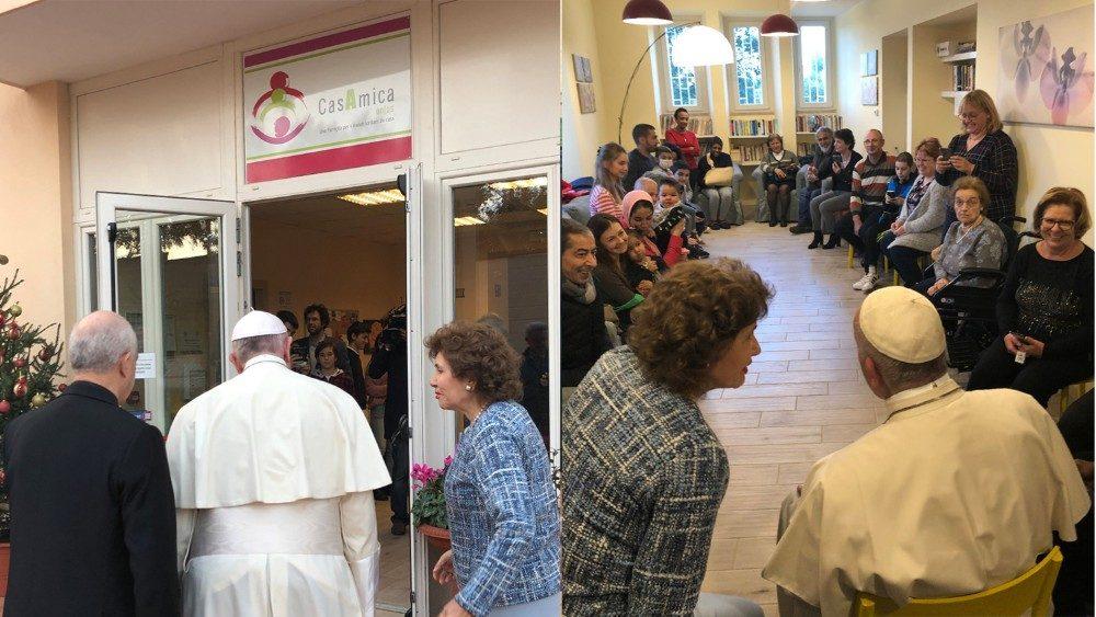 El Papa visita por sorpresa a enfermos de cáncer y jóvenes con discapacidad