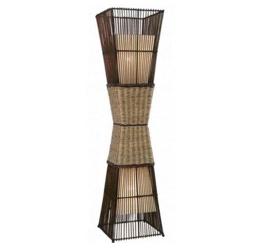 """""""Lámpara de bambú con dos pantallas de tela"""