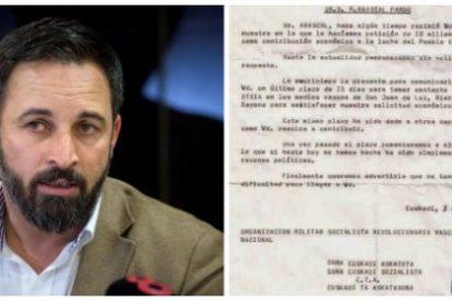 La escalofriante carta que los ahora 'amigos' de Rufían, Iglesias y Sánchez enviaron al abuelo de Santi Abascal