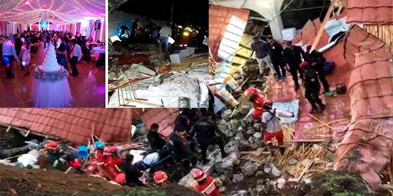 Se derrumba el techo sobre la boda y aplasta por lo menos a 15 y deja heridos a 30