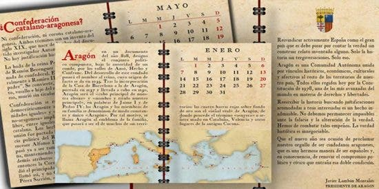 Así es el calendario con el que Lambán enseña historia a los políticos independentistas y sus amigos del PSOE