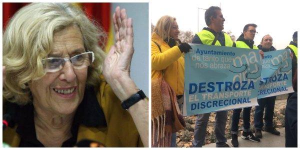 Los autocares discrecionales protagonizan una nueva protesta contra Madrid Central y piden a Manuela Carmena que no les ignore