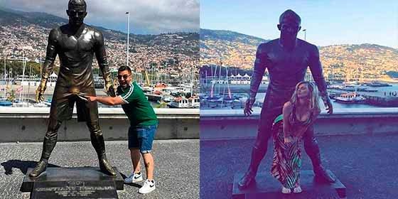 La cachonda actitud de los turistas con la estatua de Cristiano Ronaldo