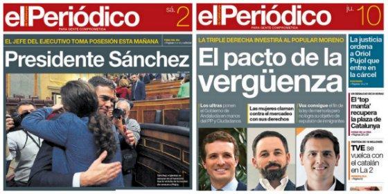 """Funambulismo de El Periódico: de jalear el acuerdo de perdedores con Sánchez a hablar de """"pacto de la vergüenza"""" andaluz"""