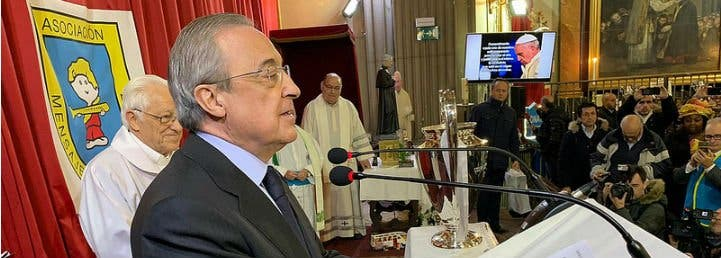 Florentino 'entrega' la Champions a los sin techo de San Antón