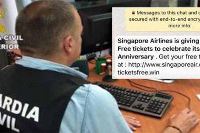 La Guardia Civil alerta contra la estafa de billetes de avión gratis que vuelve por Whatsapp