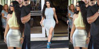 Kim Kardashian, traicionada por la abertura de su falda, muestra su secreto
