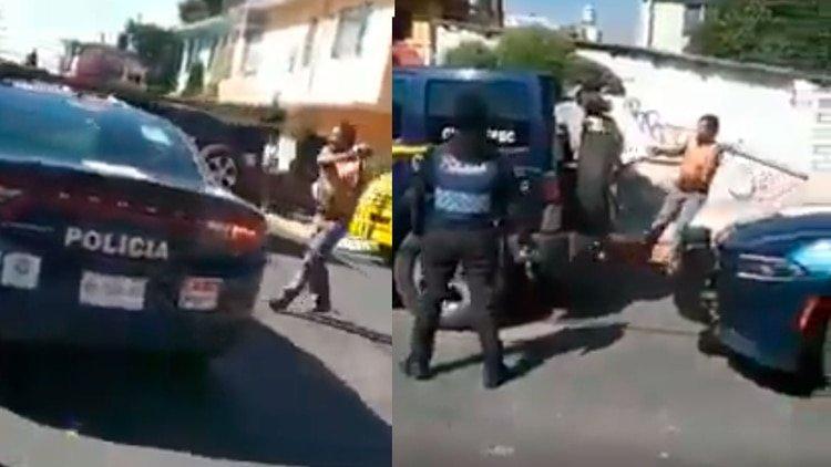 VíDEO: Un hombre ahuyenta con un palo a un grupo de policías en Ciudad de México