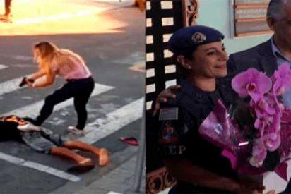 Condecoran a la mujer policía que mató al atracador frente a una escuela