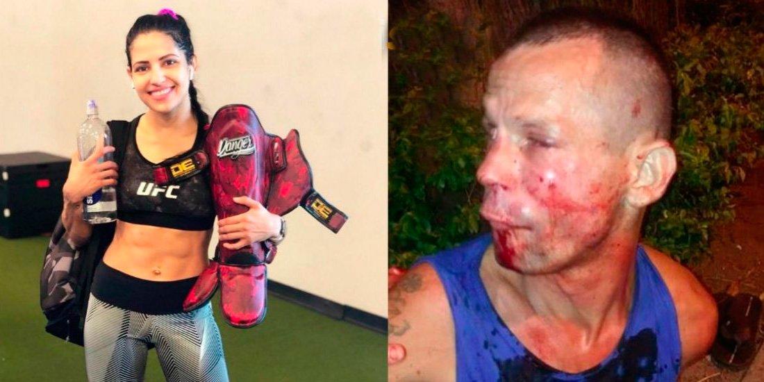 Intenta robar el móvil a la 'Dama de Hierro' de la UFC y le pide que llame a la policía para que deje de pegarla
