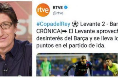 TVE se mete un gol en propia meta con un desafortunado tuit sobre el partido de Copa Levante-Barcelona