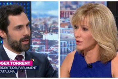 Susanna Griso se calla como una puerta ante la más grave acusación de Roger Torrent al Estado