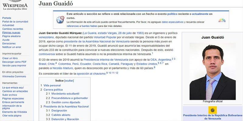Wikipedia también reconoce al dirigente opositor Juan Guaidó como presidente legítimo de Venezuela