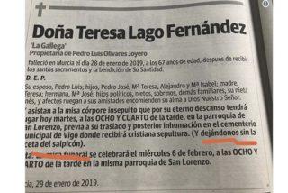 El casero y glotón reproche en esta esquela de Murcia que conmueve a las redes sociales