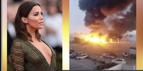 Así arde el famosos chiringuito que Eva Longoria inauguró en Marbella
