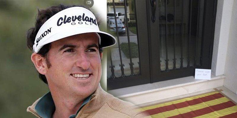 El golfista Fernández-Castaño usa la bandera independentista como felpudo y festeja el inicio del juicio a los golpistas catalanes