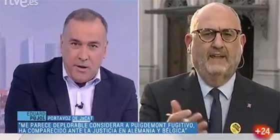 "El secesionista Eduard Pujol le echa una bronca de espanto al 'Lechero' Fortes porque una tertuliana llamó ""fugitivo"" a Puigdemont"