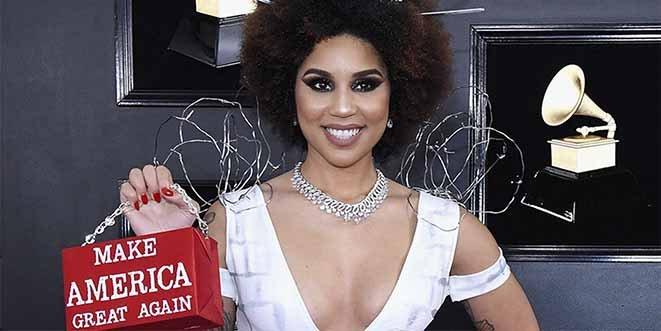 """""""Construyan el muro"""": El vestido más polémico de la alfombra roja de los Grammy 2019"""