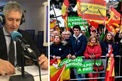 """Un fiasco de ministro: el taimado Marlaska arremete en COPE contra la manifestación de Colón y se pregunta: """"¿Alguien duda de la lealtad a España del gobierno?"""""""