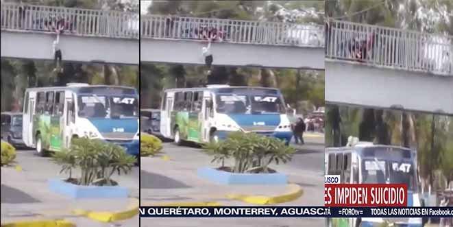 Entre gritos y pánico: Un chófer y cuatro estudiantes impiden el suicidio de una mujer en México