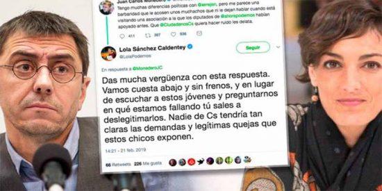 """Lola Sánchez, eurodiputada de Podemos, sacude una zurra a Monedero: """"Das mucha vergüenza"""""""