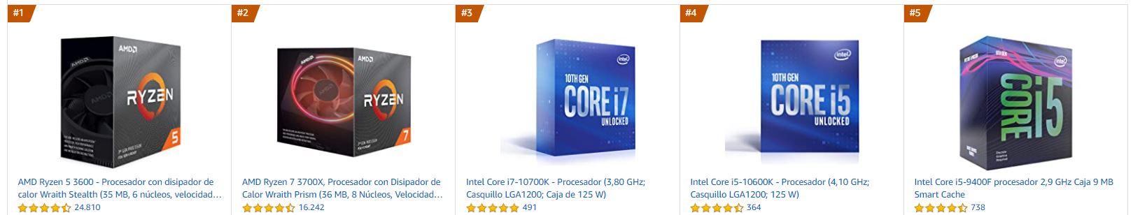 Procesadores más vendidos en Amazon