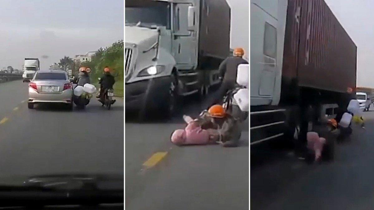 Una madre salva heróicamente a su hijo de ser arrollado por un camión