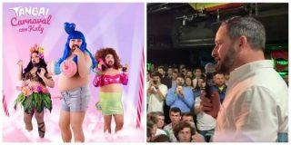 Santiago Abascal es recibido como una estrella en el Teatro Barceló y provoca que los gays se marchen con su 'Tanga Party' a otra parte