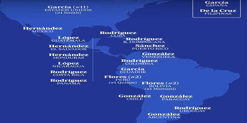 ¿Sabes cuáles son los apellidos españoles más frecuentes en América?