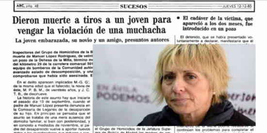 Pilar Baeza y una de las crónicas que irritan a la familia del asesinado.