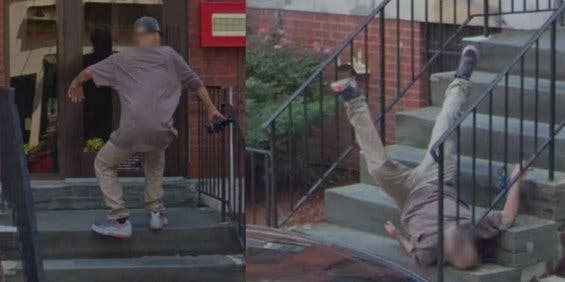 Google Maps captura la caída de un hombre en unas escaleras