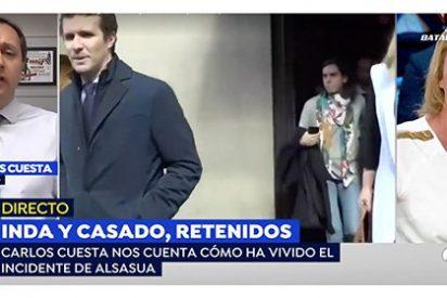 Carlos Cuesta destroza a la periodista que se preocupa más por el dueño del bar que le retuvo en el local de Alsasua junto a Casado e Inda