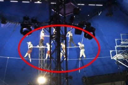 El aterrador momento del colapso de una pirámide de equilibristas en un circo