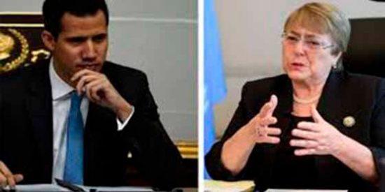 """Guaidó pone contra la pared a Bachelet y exige que constate """"sin ideologías"""" la crisis de Venezuela"""