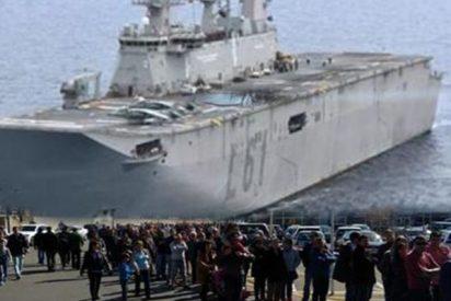 Colas kilométricas para visitar el buque insignia de la Armada española, para cabreo de PNV, PSOE, Podemos y Bildu