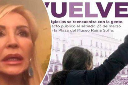 """Carmen Lomana: """"Efectivamente, soy la que sale en el cartel de Podemos con la vuelta de Pablo Iglesias"""""""