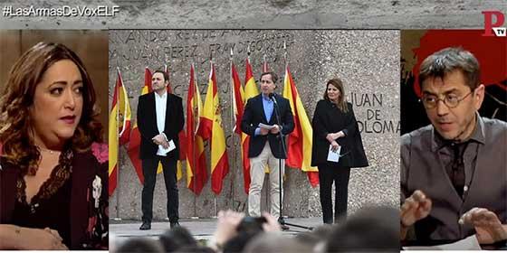 """Monedero y la 'pregonera' del aquelarre 'indepe' de Madrid señalan periodistas desde la TV de Roures: """"El problema es la cantidad de fascistas que hay dentro del periodismo"""""""