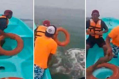 Vídeo: el intento de rescate de tres jovenes en el que solo salvan a uno en el mar de Veracruz