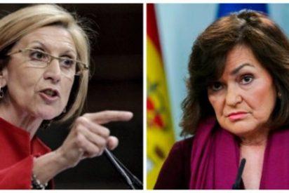 """Rosa Díez despelleja a Carmen Calvo por su feminismo de pega: """"A esta tipa hay que decirle que la derecha reconoció el voto de la mujer"""""""