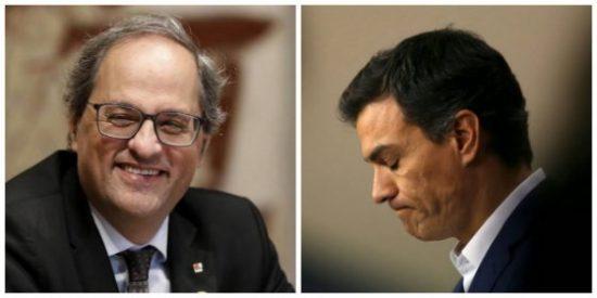 La farsa de los lazos amarillos: Sánchez sigue haciendo el Don Tancredo ante un Torra que se fuma un puro con la ley