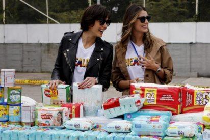 Dos Miss Universo venezolanas recogen ayuda humanitaria en Bogotá