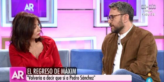"""Así ha sido el emocionante e incómodo reencuentro entre Ana Rosa Quintana y Màxim Huerta: """"Con Pedro Sánchez no tengo relación"""""""